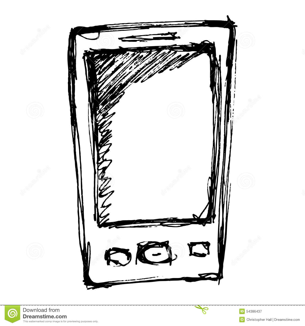 Rough Sketch Of A Mobile Phone Stock Vector
