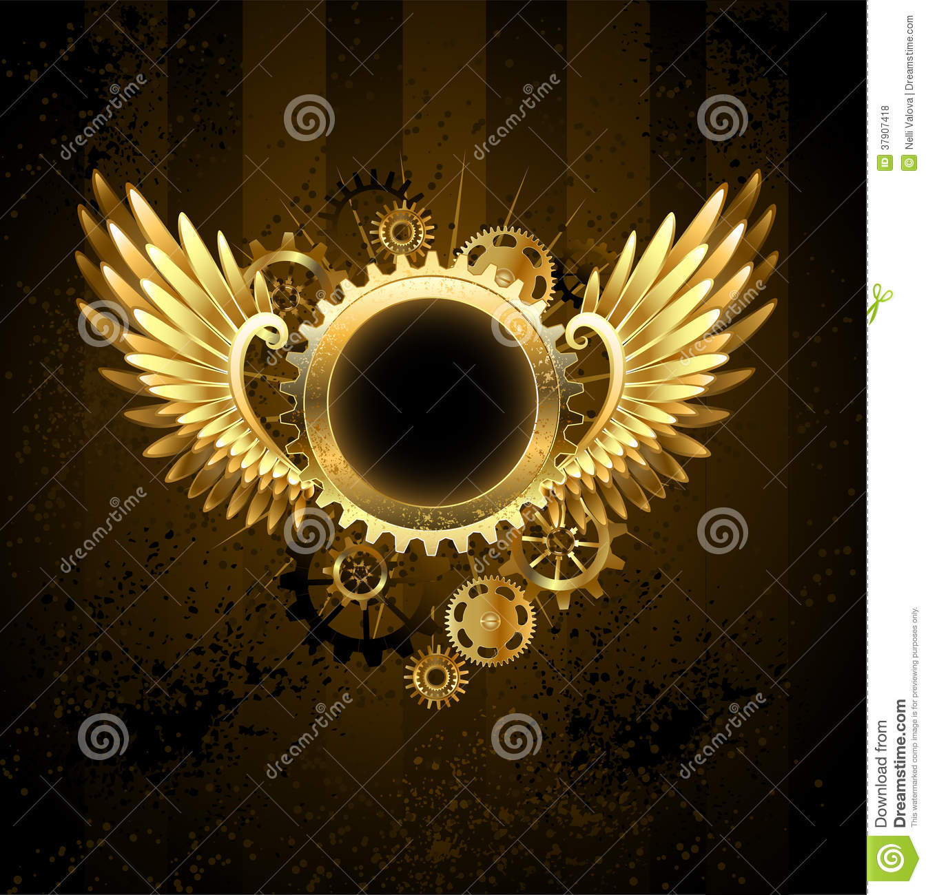 Round Banner With Steampunk Wings Stock Vector Image