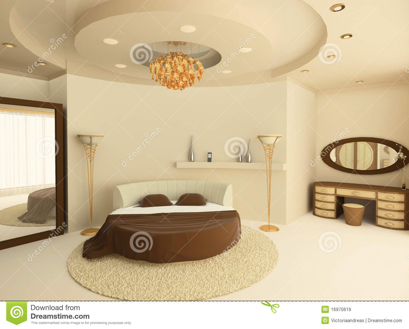 Round Bed With A Suspended Ceiling In Bedroom Royalty Free