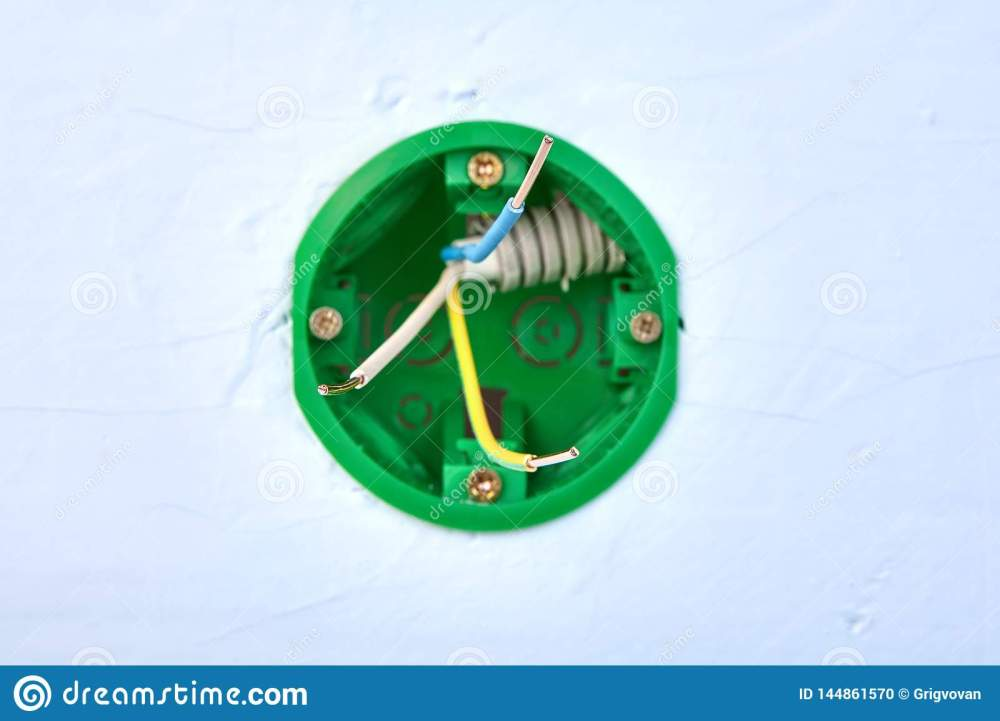 medium resolution of round electrical box for wall light switch with copper wires inside electric installation work