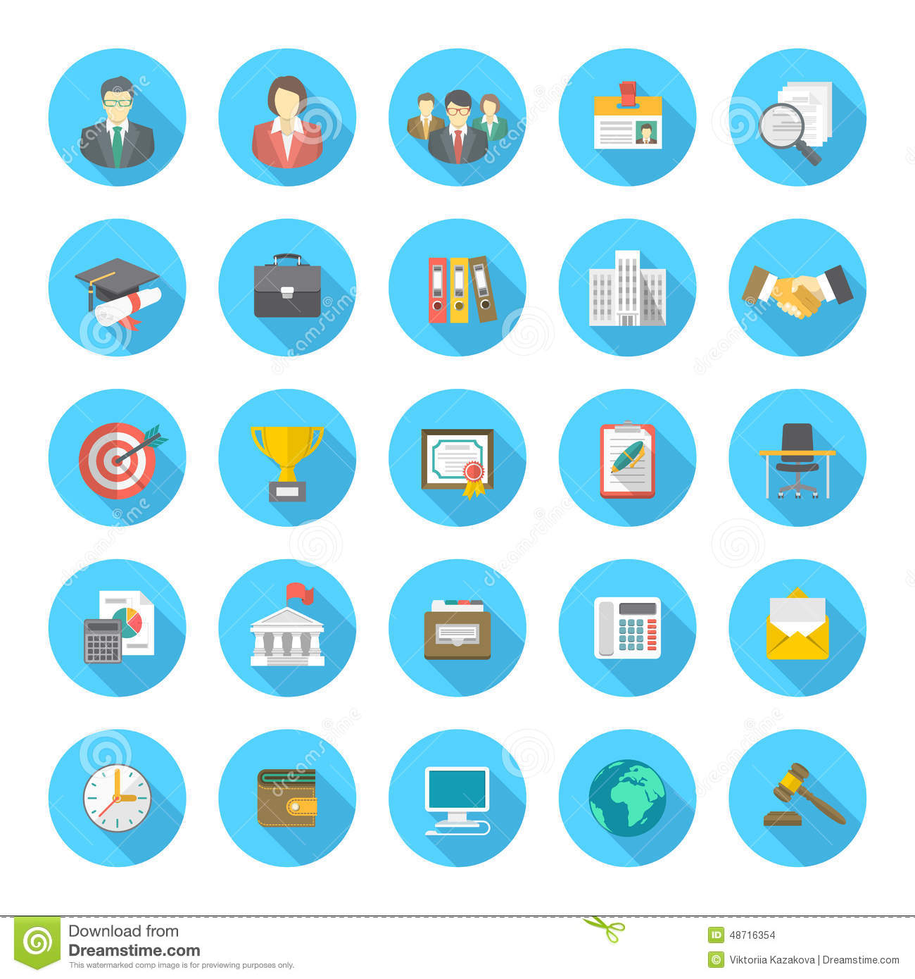 Round Flat Resume Icons Stock Vector Illustration Of