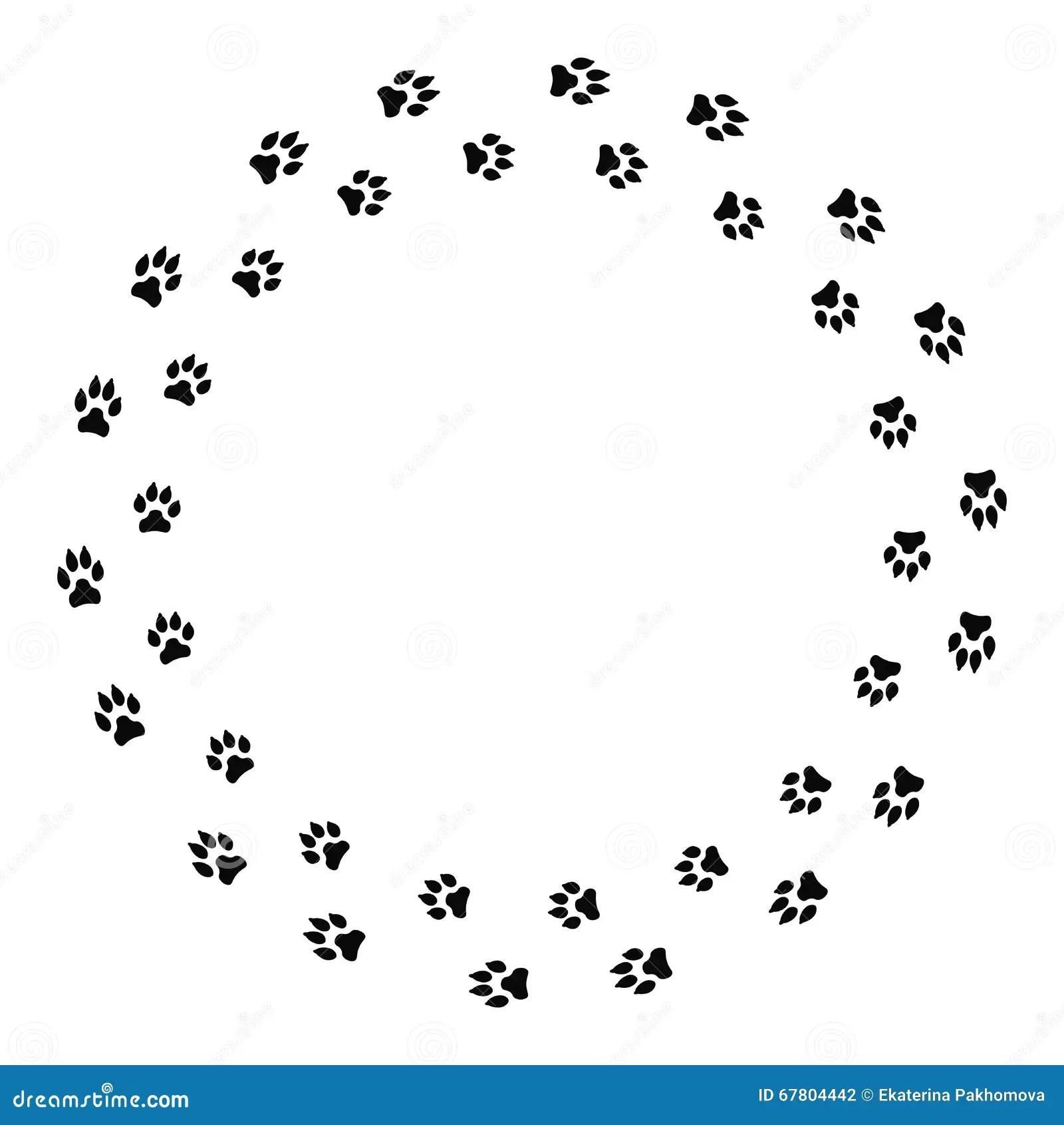 Round Frame With Black Dog Track Isolated On White