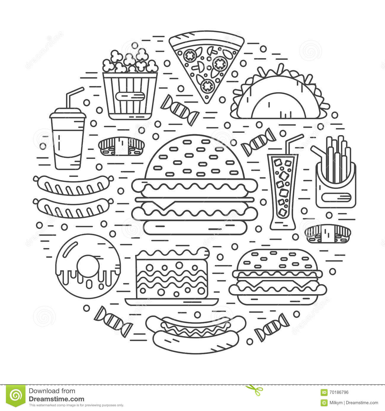 Round Illustration Of Fast Food Stock Vector