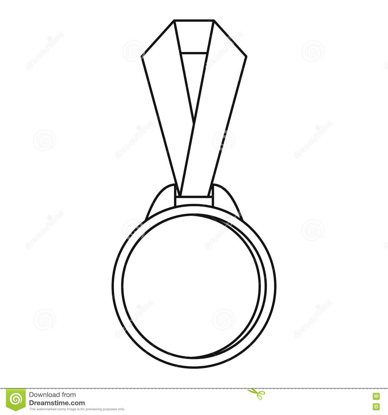 Round Medal With Ribbon Icon Outline Style Stock Vector