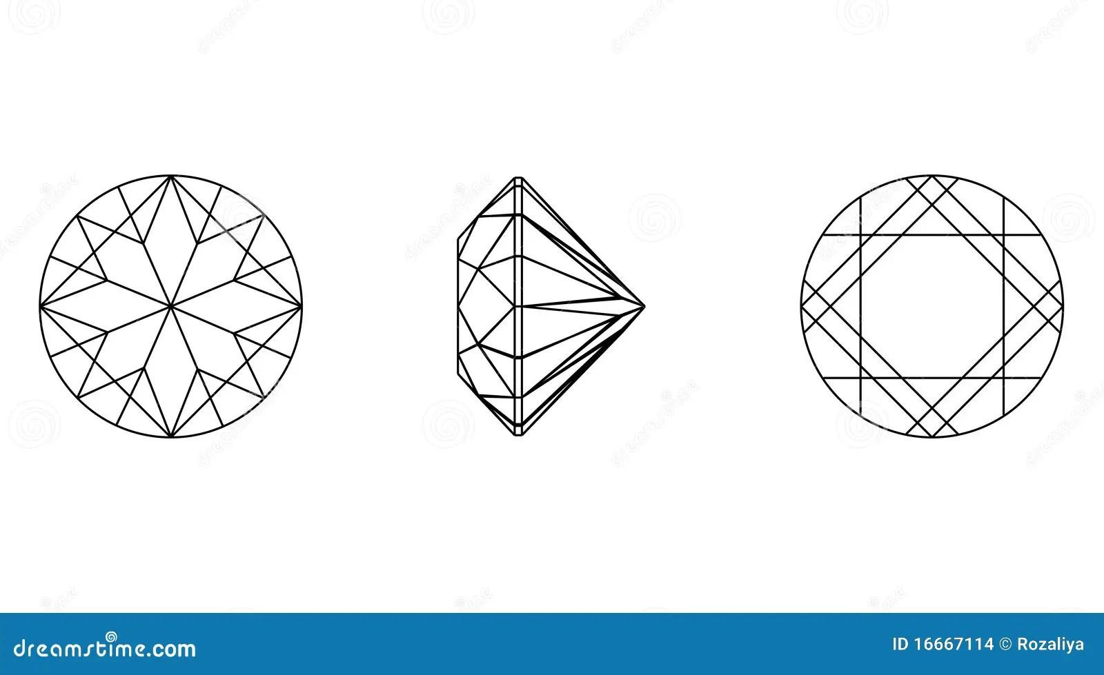 Round Shapes Of A Gemstone. Wireframe Stock Illustration