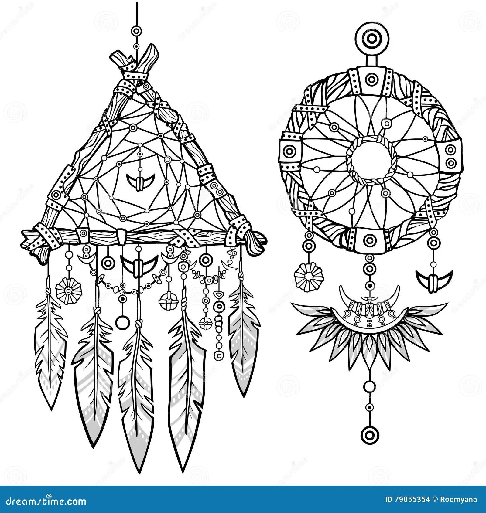 Round And Triangular Dreamcatcher. Vector Illustration