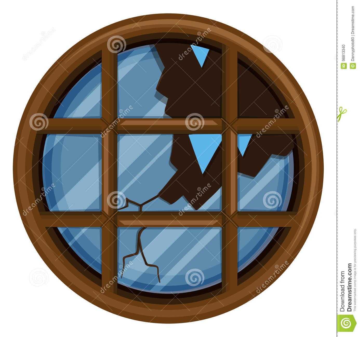 hight resolution of round window with broken glass