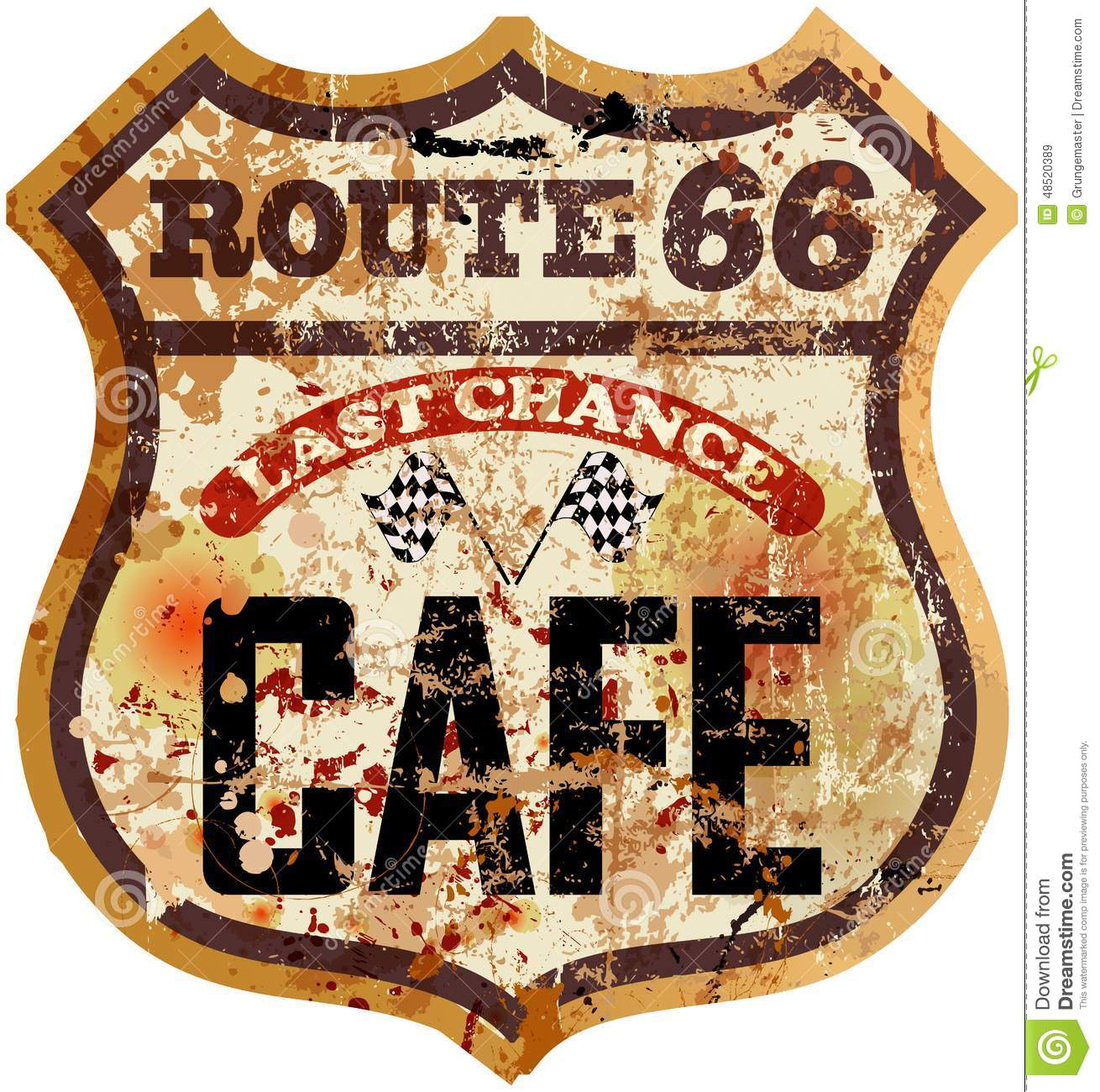 Route Sixty Six Cafe Diner Sign Stock Vector  Image 48520389
