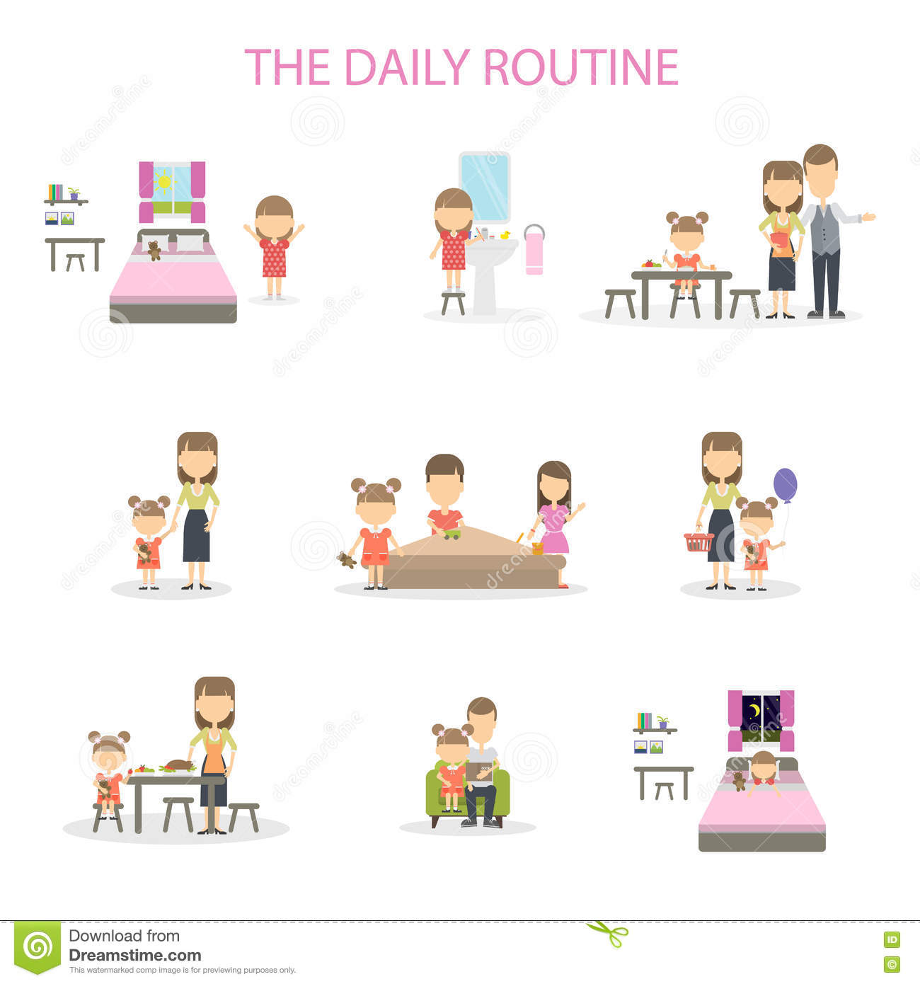 The Daily Routine Cartoon Vector