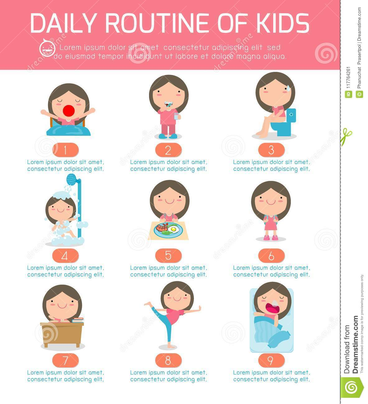 Daily Routine Daily Routine Of Happy Kids Infographic Element Health And Hygiene Daily