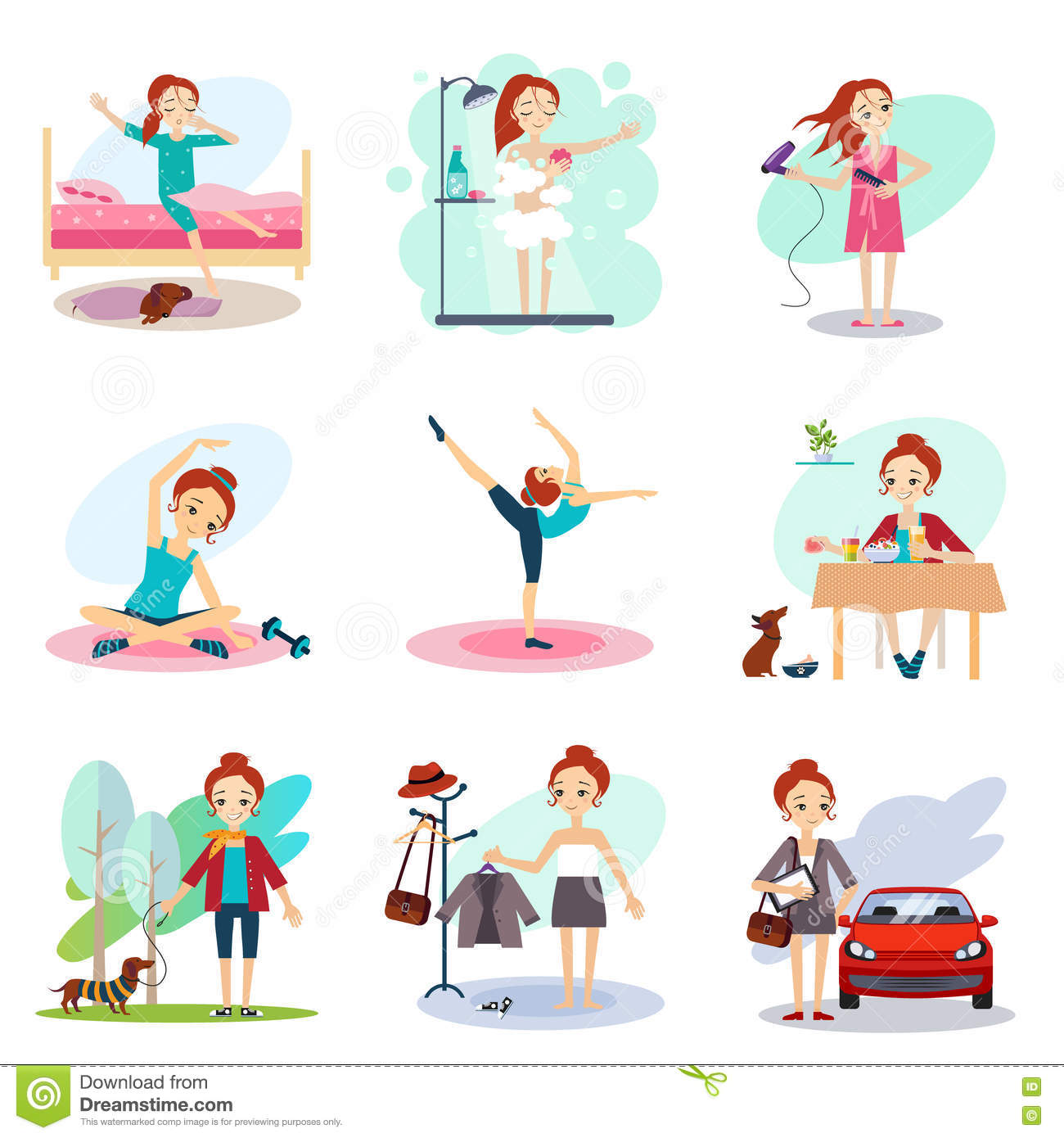 Daily Routine Set With Cute Girl Stock Image