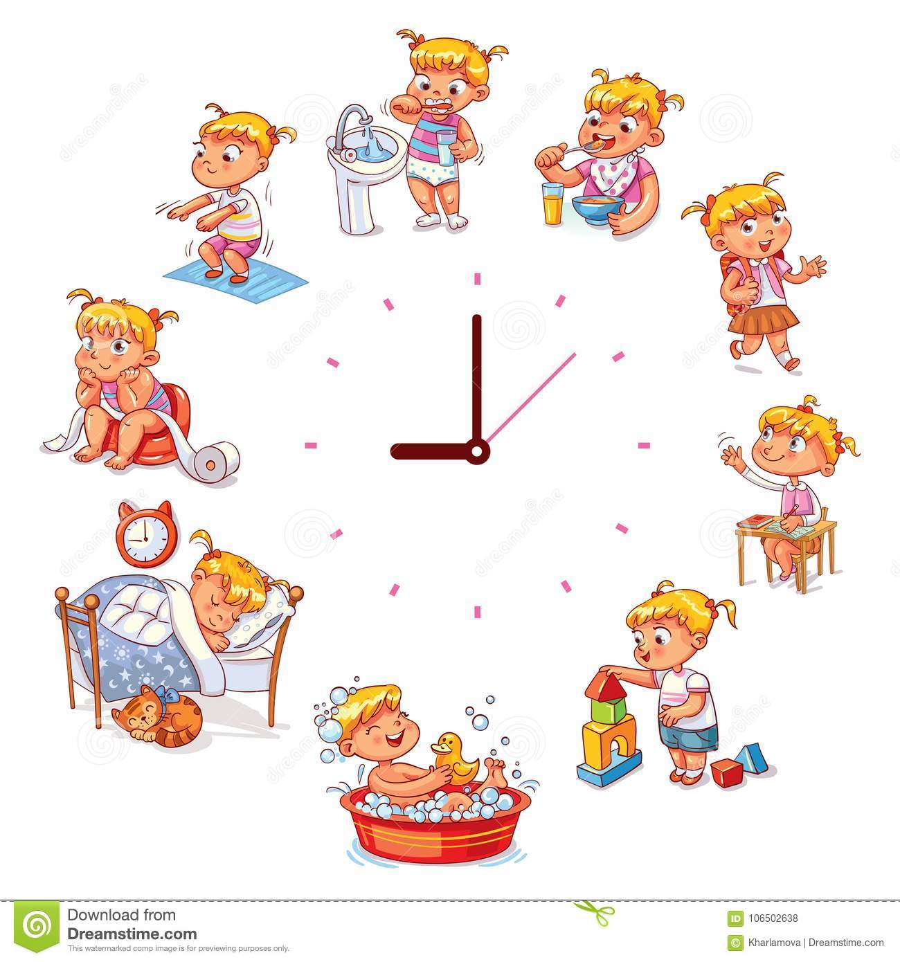 Daily Routine With Simple Watches Stock Vector