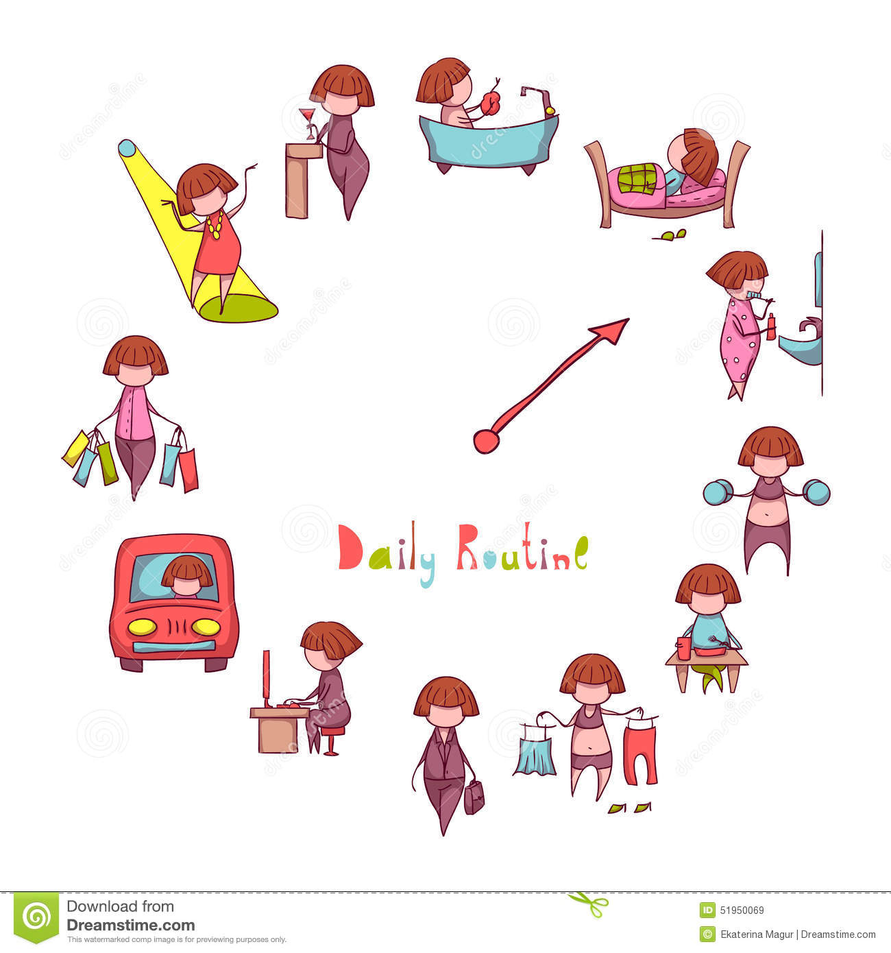 funny exercise diagram visual studio database project daily routine vector set with girl stock