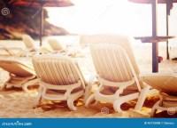 Row Of Beach Chairs On The Sea Stock Photo - Image: 46720088