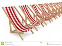 Row Of Beach Chairs With White And Red Stripes Stock ...