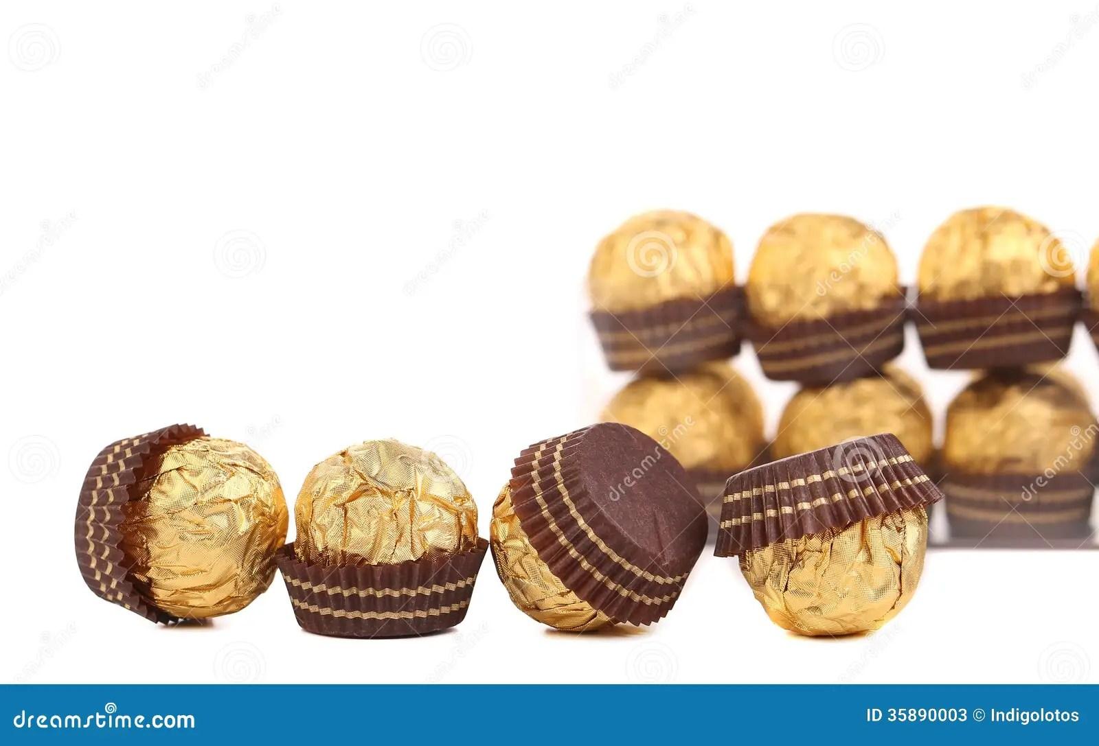 Row Of Chocolate Gold Bonbon Stock Photos Image 35890003