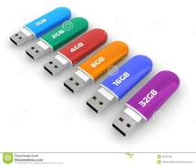Row Of Color Usb Flash Drives Stock - 12064790