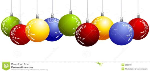 row of hanging christmas ornaments
