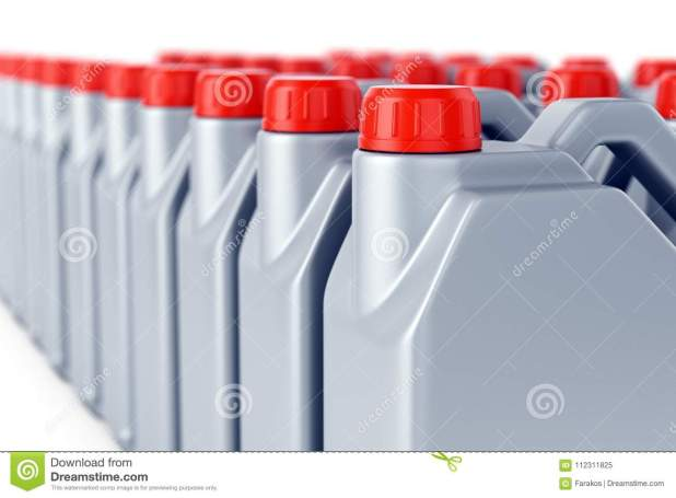 Row Of Motor Oil Jerry Cans Stock Ilration Machine Flammable