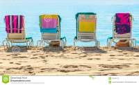 A Row Of Three Beach Chairs Stock Photography - Image ...