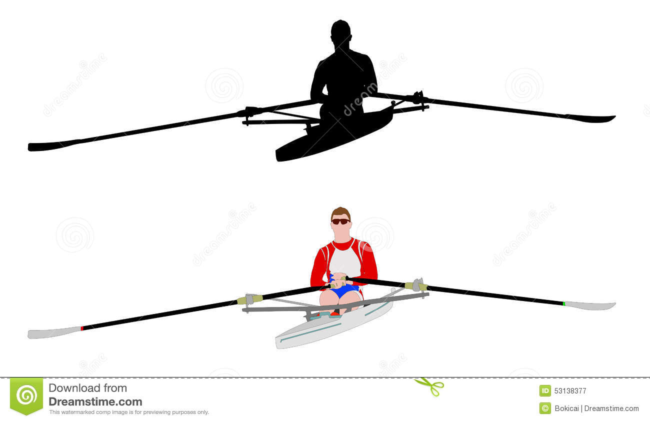 Rower Silhouette And Illustration Stock Vector