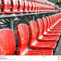Folding Chair Plans Wedding Covers Brisbane Rows Of Red Mini-football Stadium Seats Stock Photo - Image Folding, Abandoned: 33081174