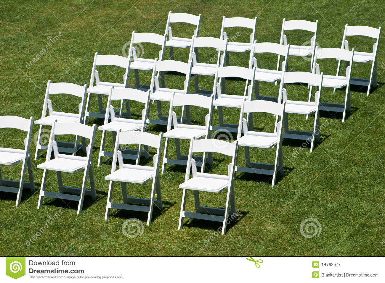 Rows Of White Wedding Chairs Royalty Free Stock