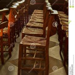 Rush Seat Chairs 3 In 1 Chair Rows Of Wooden Church Chapel With Seats Inside Stock Photo - Image: 49340275