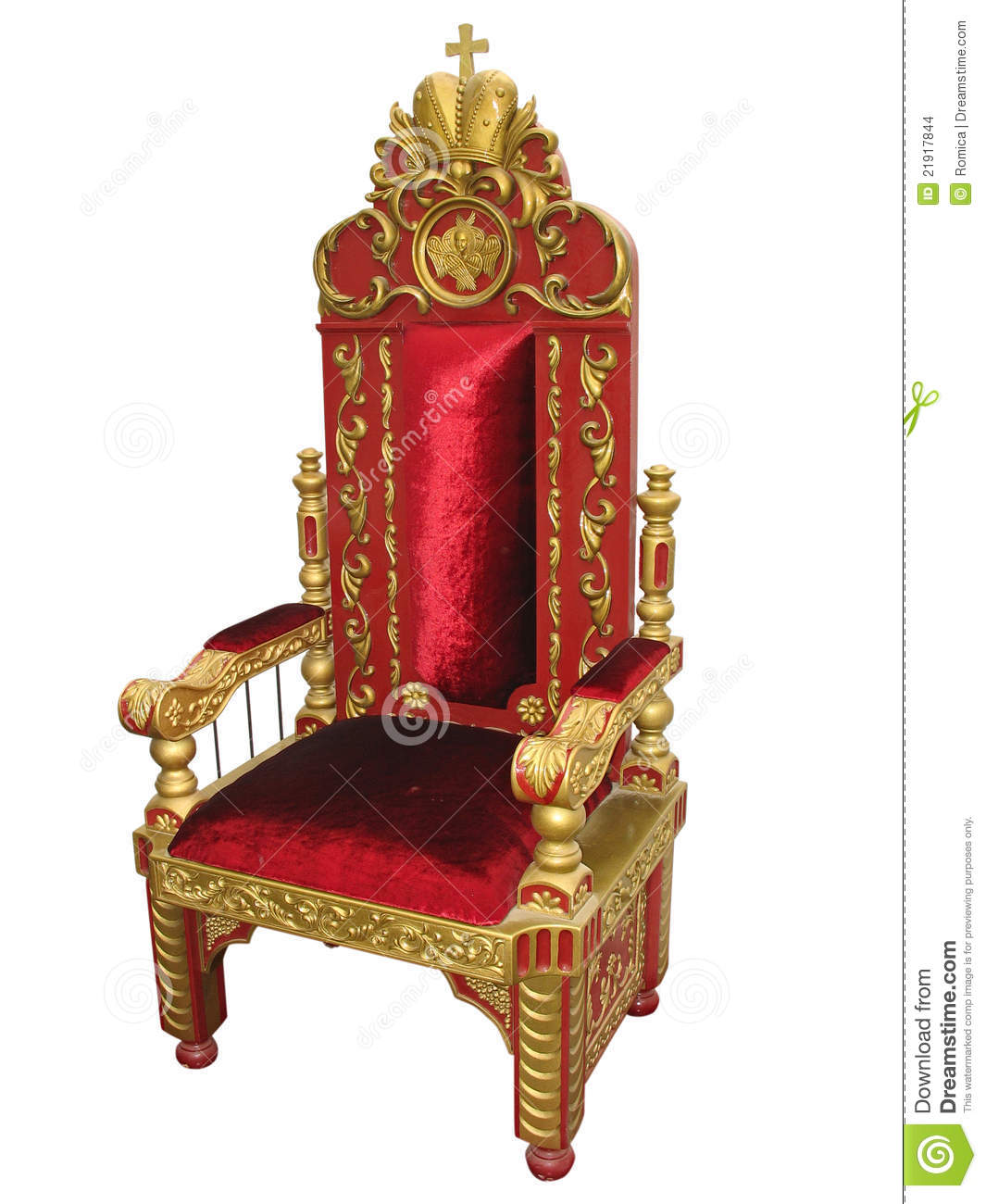 Royal King Red And Golden Throne Chair Isolated Stock