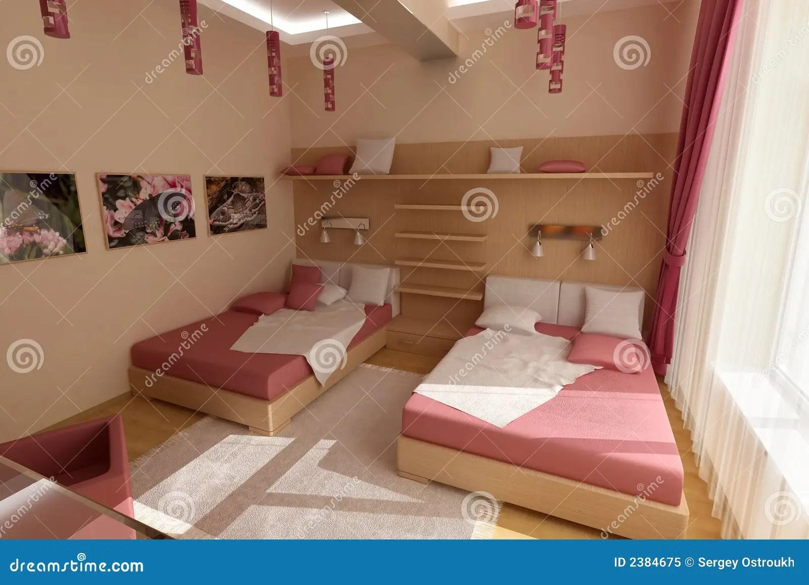 Roze Slaapkamer Royaltyvrije Stock Foto  Beeld 2384675