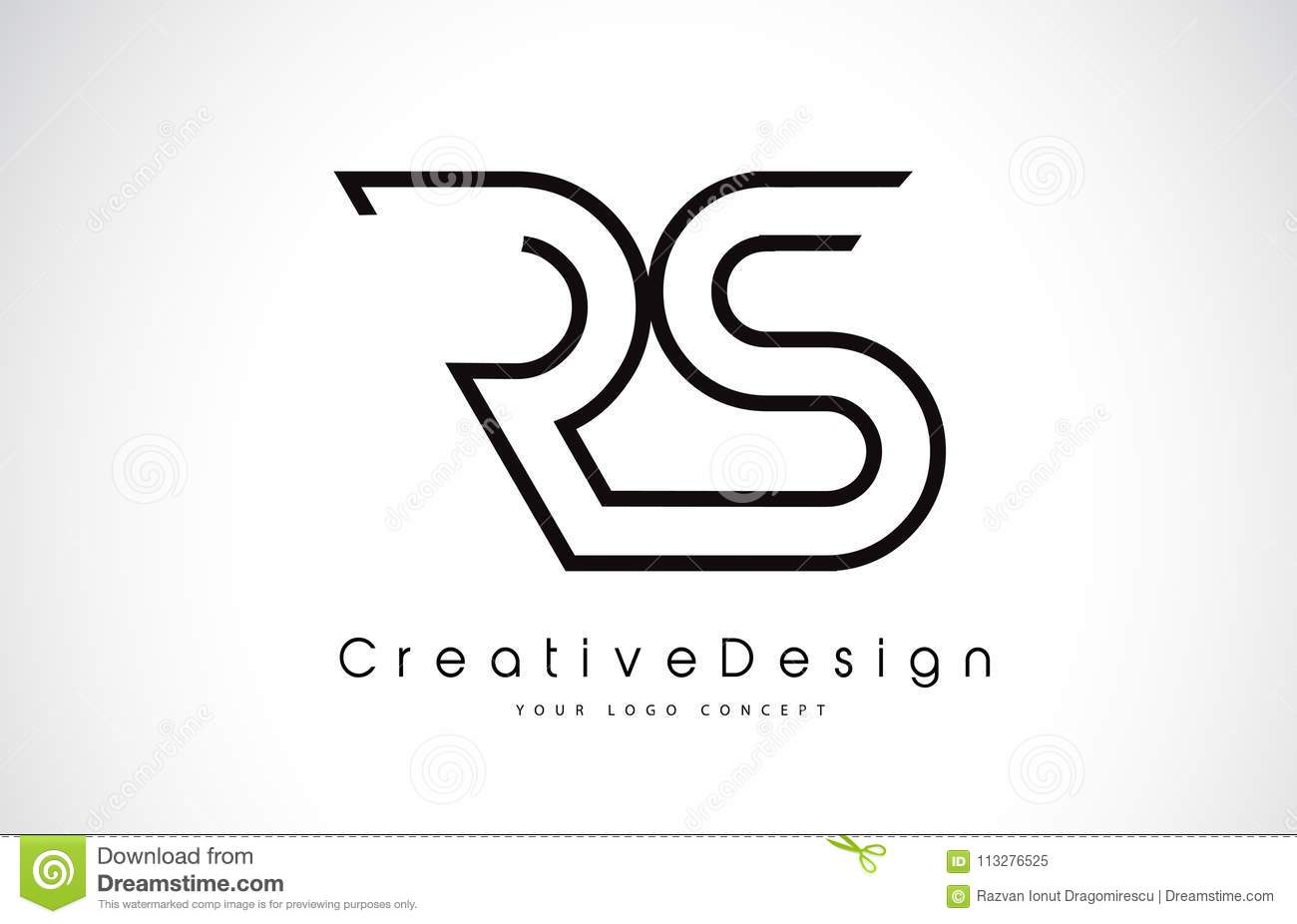 Rs R S Letter Logo Design In Black Colors Stock Vector