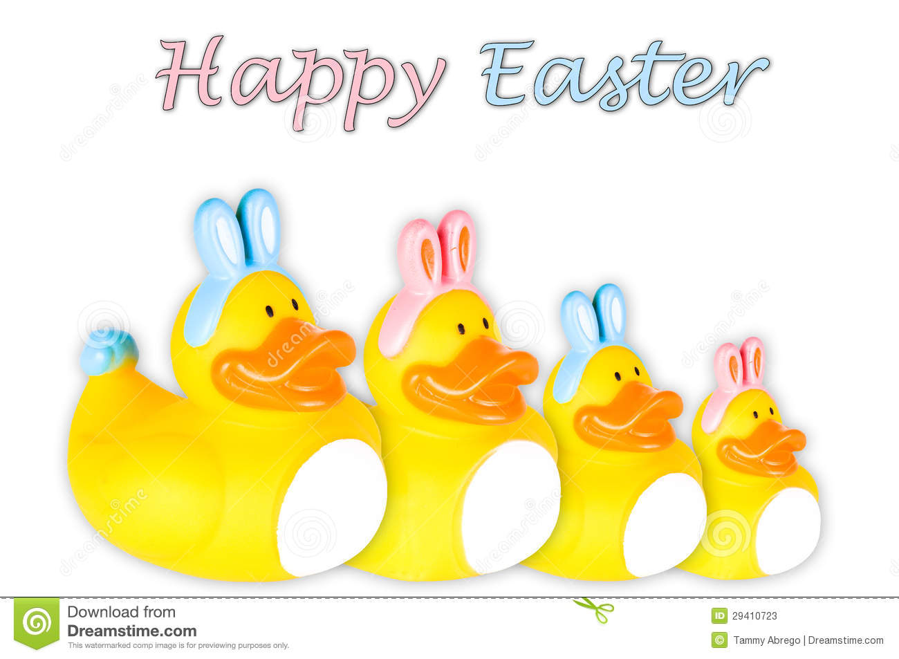 Rubber Duck Family Dressed As Easter Bunnies Stock