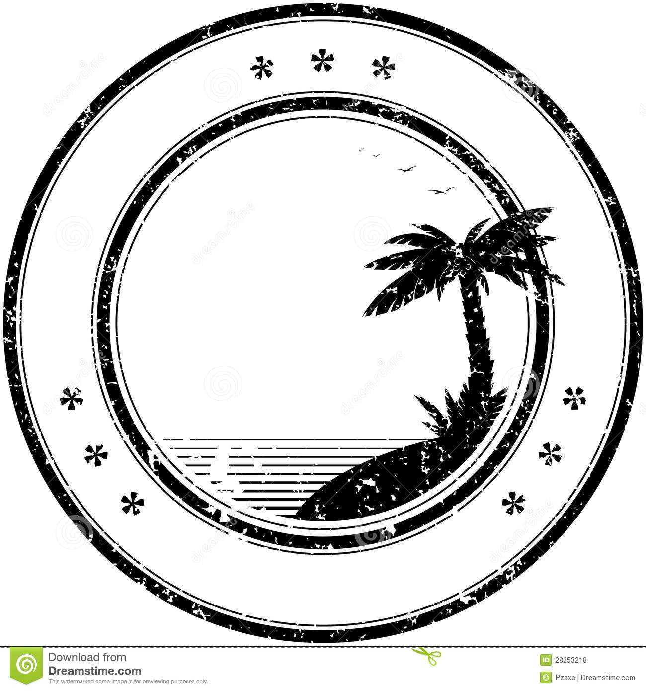 Rubber Vector Stamp With Tropical Palm Tree Stock Vector