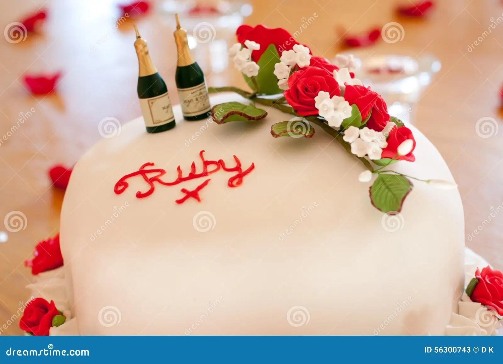 Ruby Wedding Anniversary Cake Stock Photo