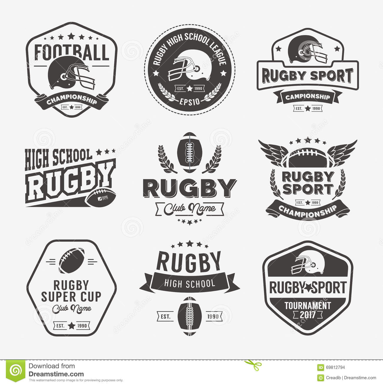 Rugby Logo Vector Colorful Set, Football Badge Logo