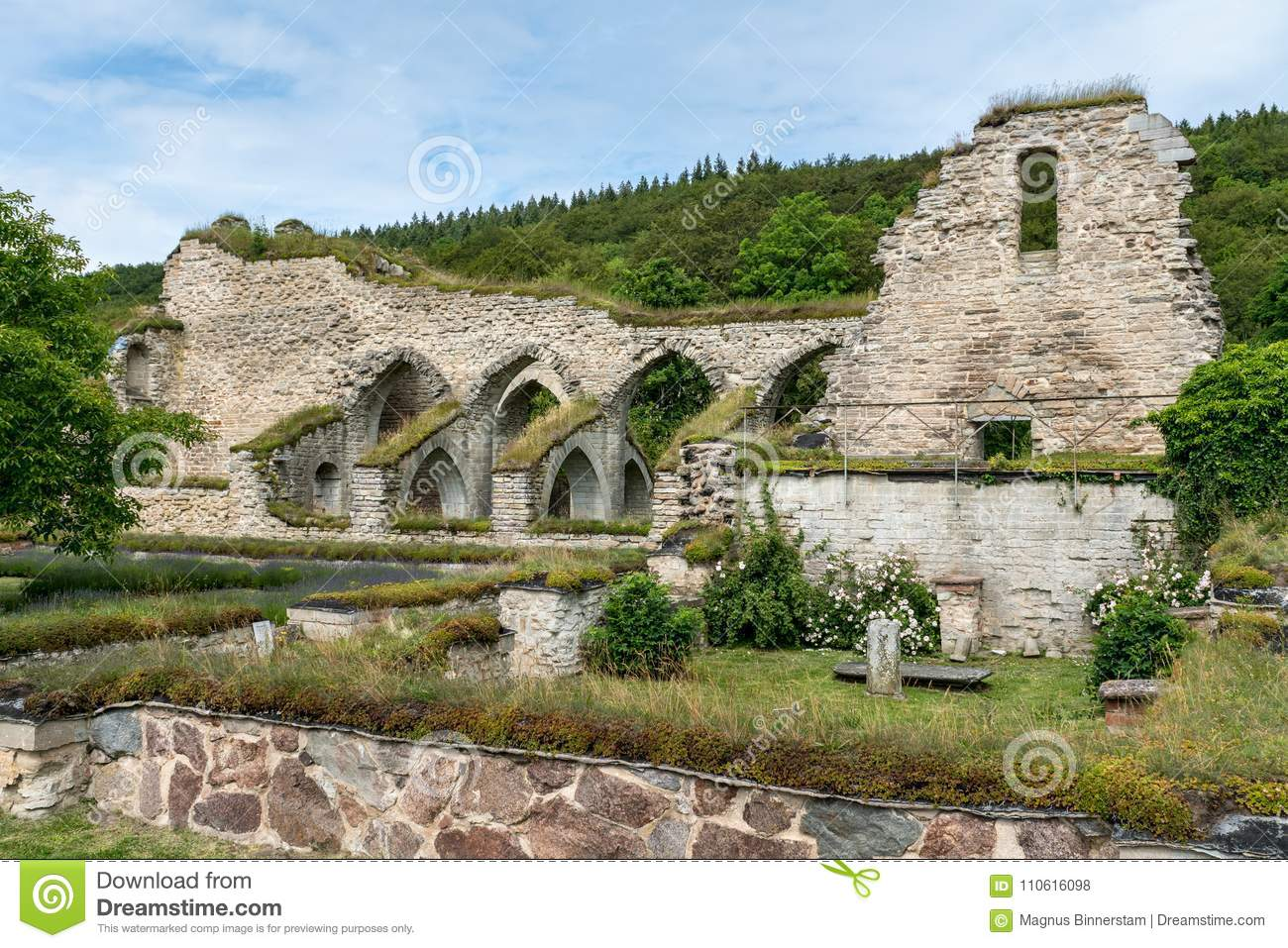 Ruin Of Monastery From The Middle Ages With Nice Garden In