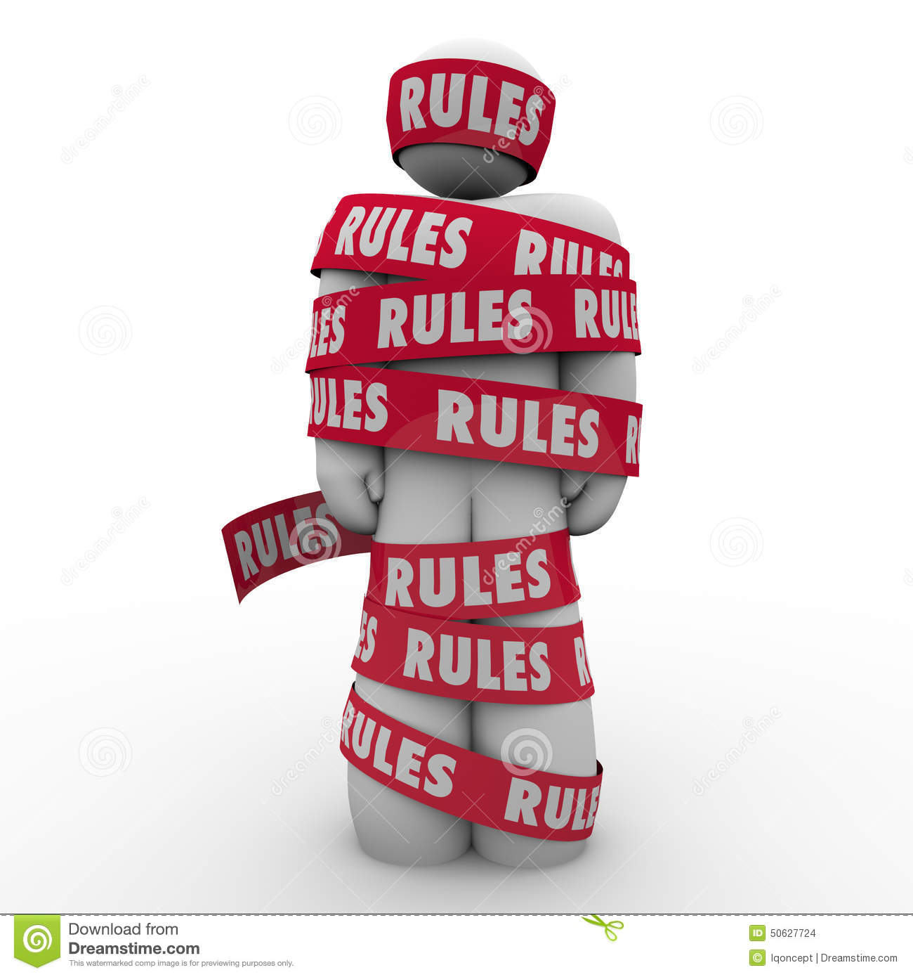 Rules Man Wrapped Tape Regulation Compliance Follow Laws
