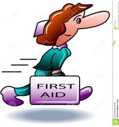run to first aid illustrated cartoon clip art [ 1267 x 1300 Pixel ]