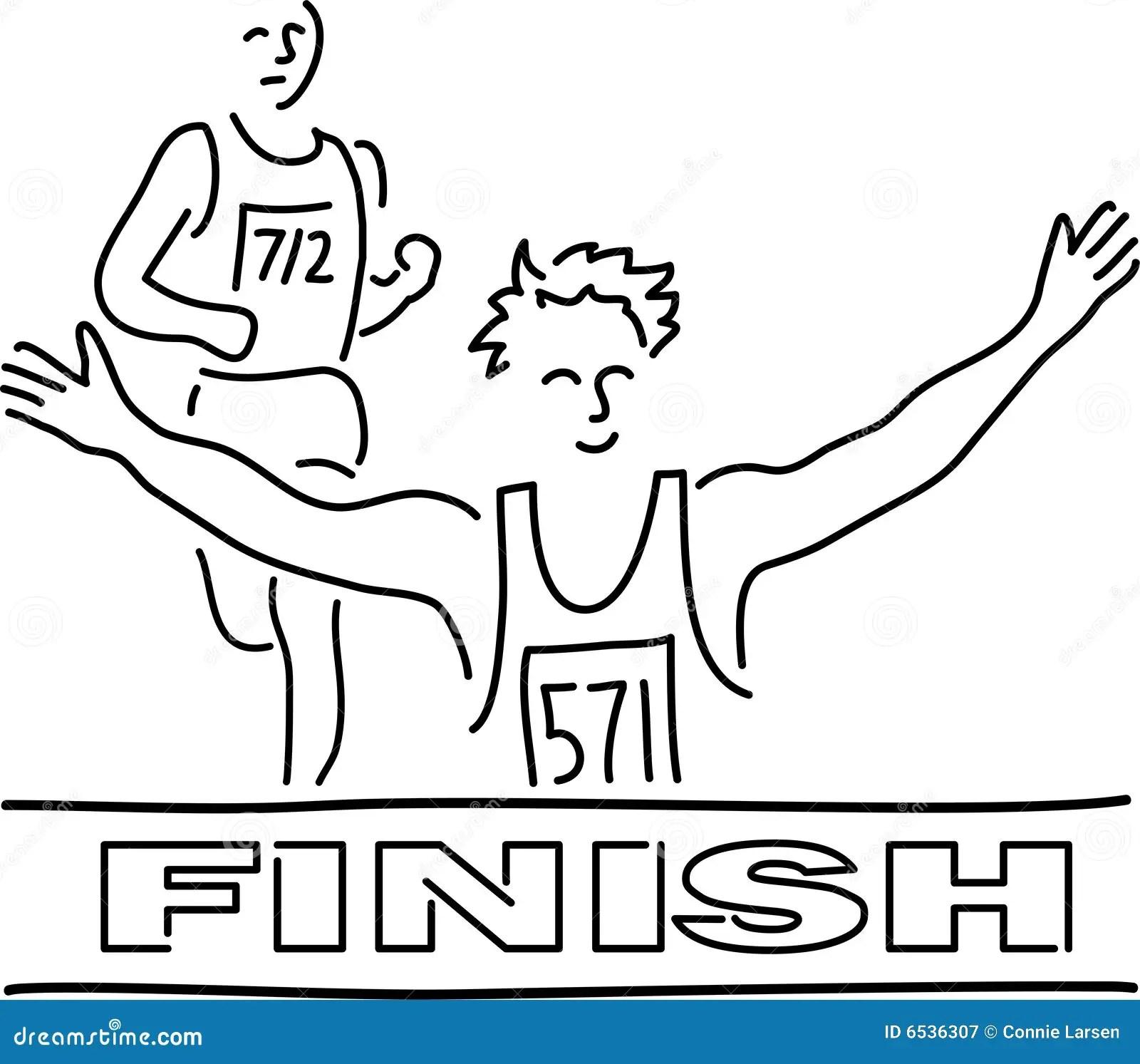 Runners Finish Line Cartoon Stock Illustration