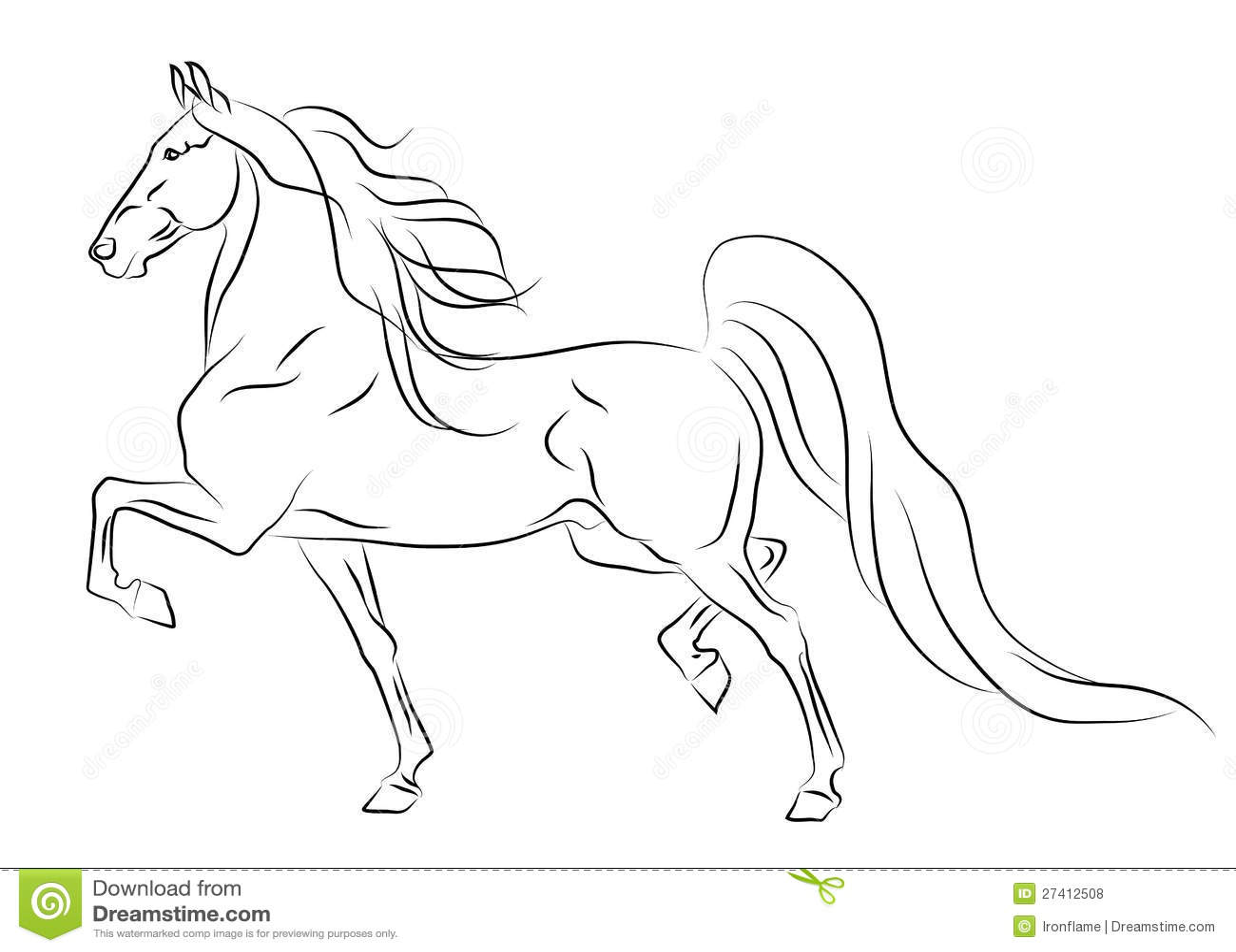 Running American Saddlebred Horse Sketch Royalty Free