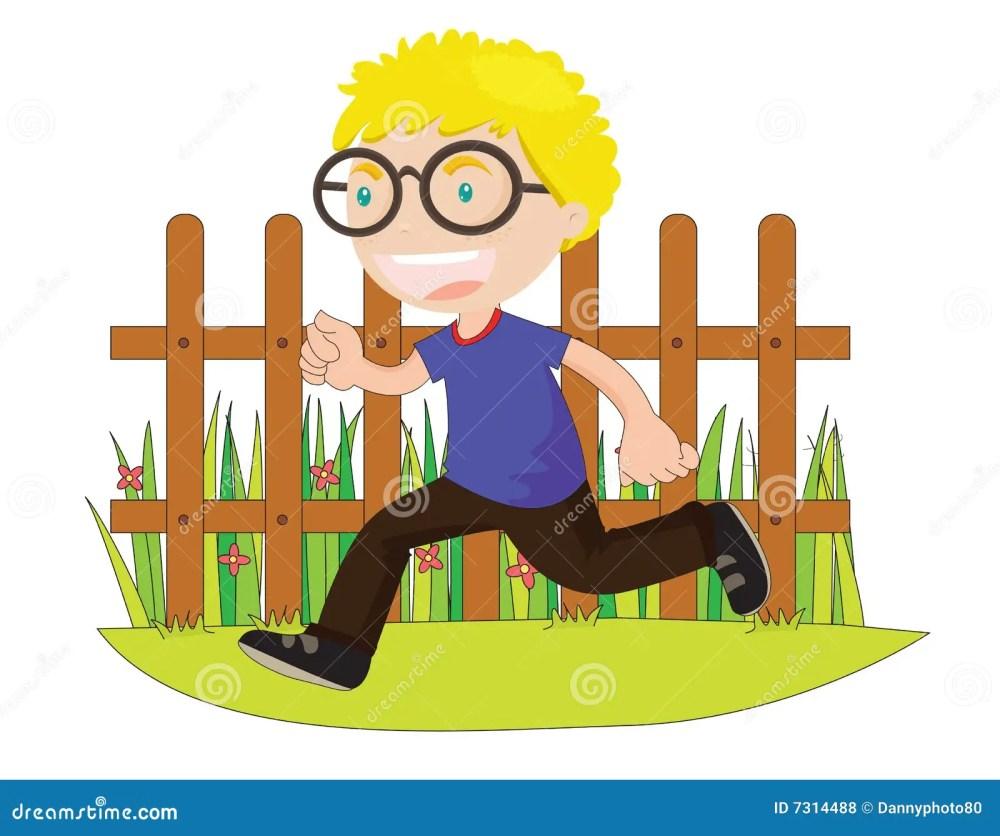 medium resolution of running boy in front of fence