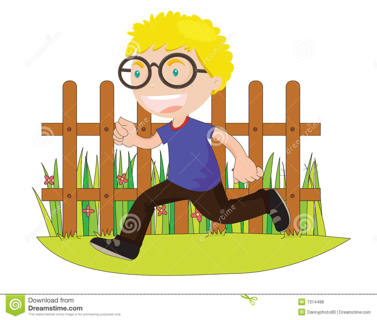 hight resolution of running boy in front of fence
