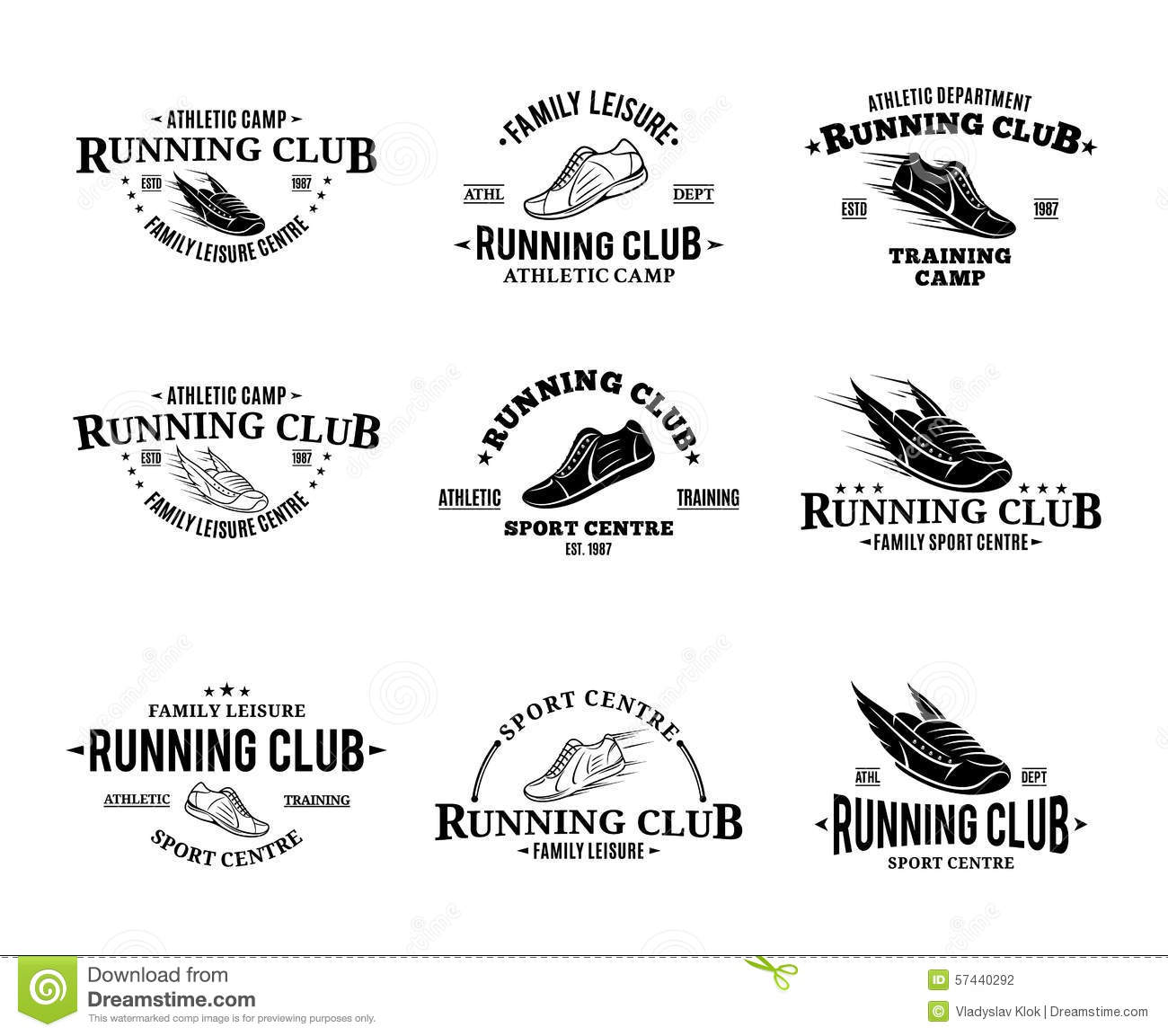 Running Club Labels Templates And Badge Stock Vector