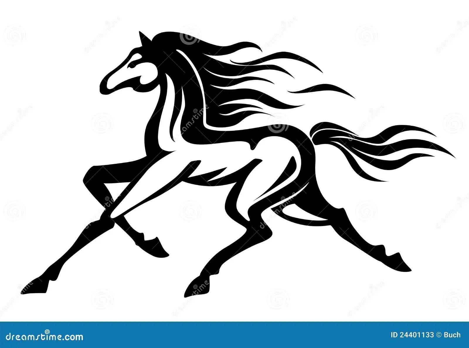 Running Horse Stock Vector Illustration Of Black Mammal