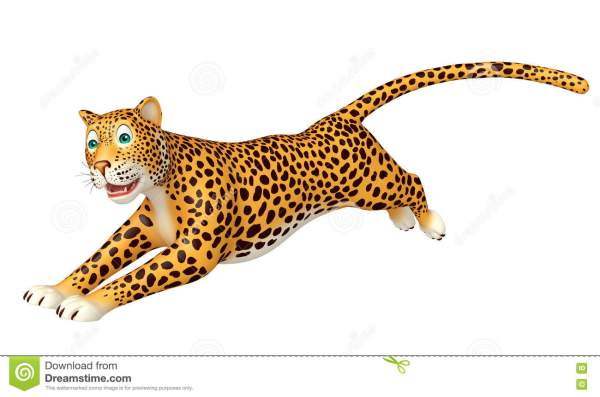 Running Leopard Cartoon Character Stock Illustration
