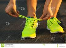 Running Shoes. Barefoot Shoes Closeup. Female