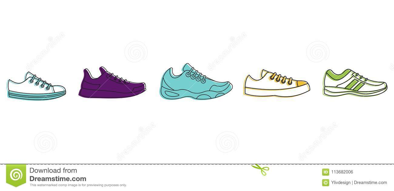 hight resolution of running shoes icon set color outline style