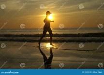 Running On Beach Sunset