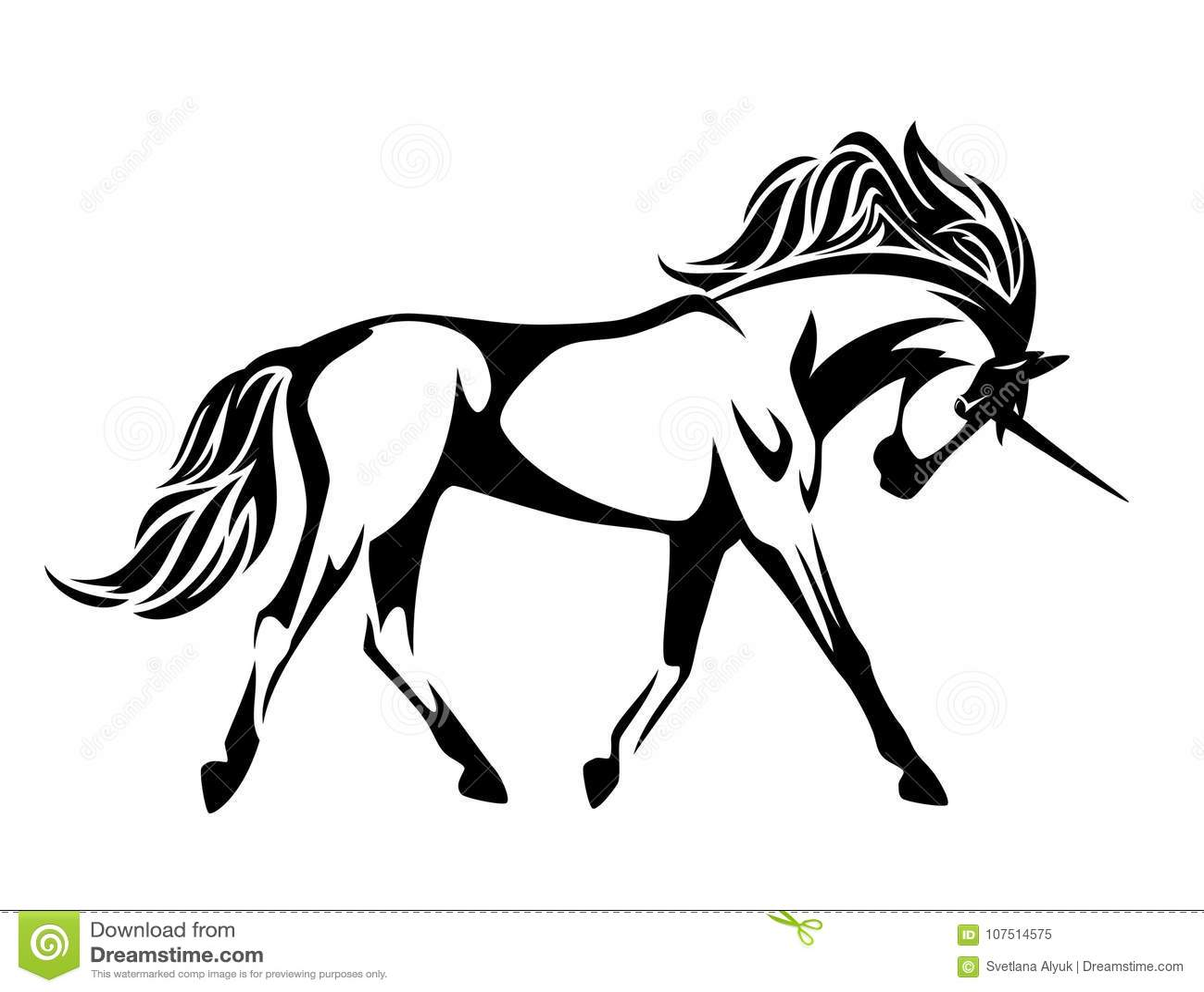 Running Unicorn Horse Vector Design Stock Vector