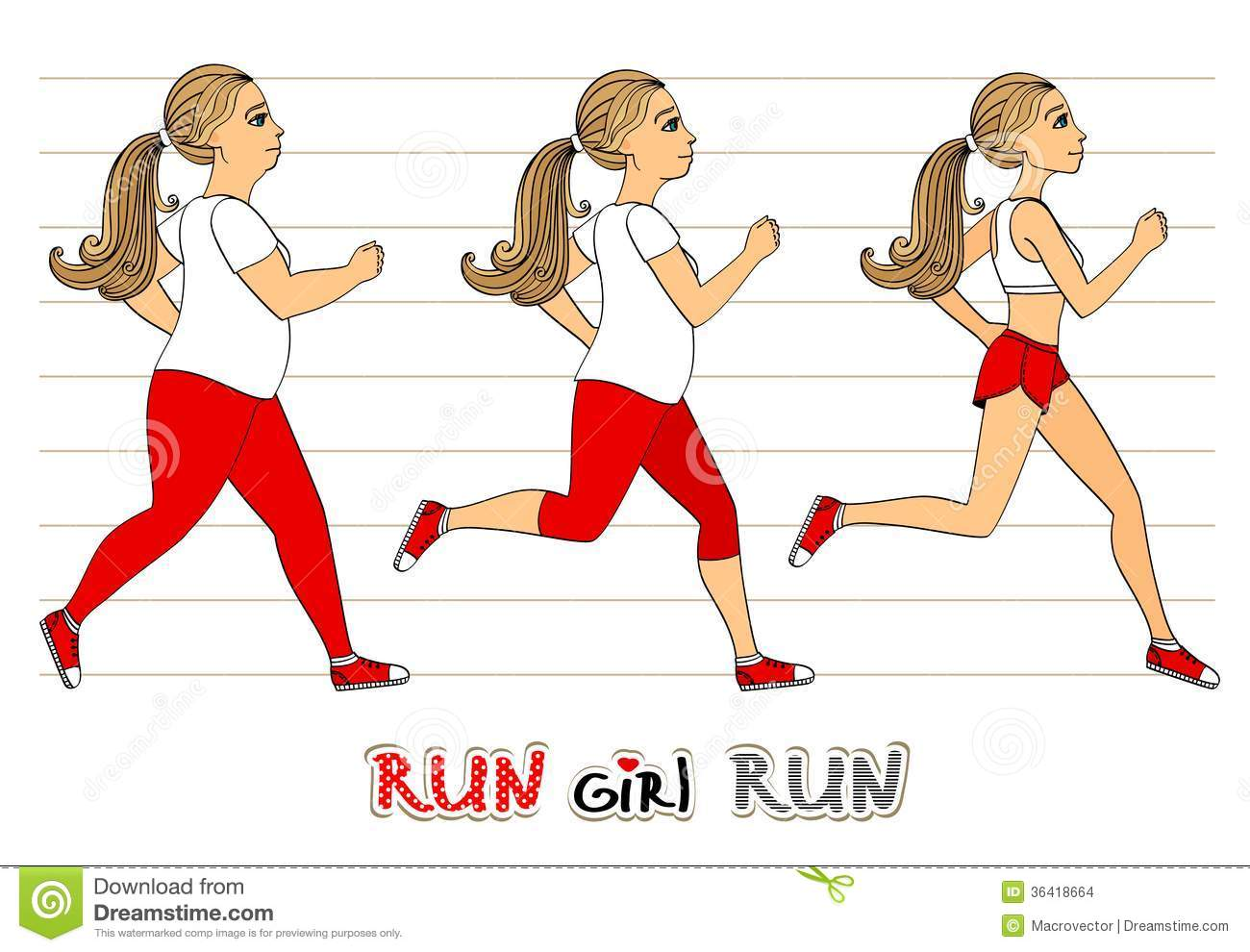 running woman weight loss progress fitness exercises isolated vector illustration 36418664